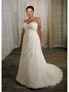 A-Line Sweetheart Crystal Beads Chiffon Chapel Train Wedding Dress at Millybridal.com