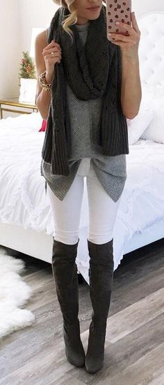 #winter #outfits / Grey Top // Black Scarf // White Skinny Jeans // Dark Knee High Boots