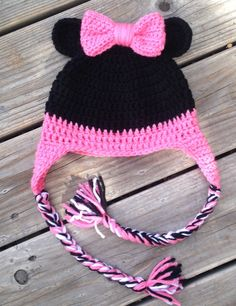Minnie Mouse Inspired Hat, Minnie Mouse Crochet Hat, Minnie Mouse Inspired Crochet Hat, Kids Hat, Kids Beanie, Crochet Hats, Crochet Beanies by IvyandIndigo on Etsy