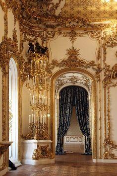 Golden interior in Liechtenstein palace Vienna