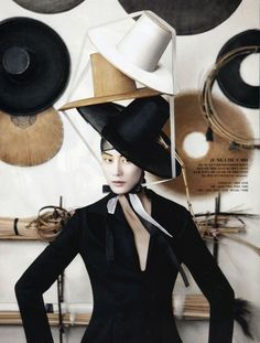 Vogue Korea August 2013 : Hat Fashion into Crafts. Strongly influenced by the traditional  formal and rigid horsehair 'GATS' made for men of a certain status before the modern era.