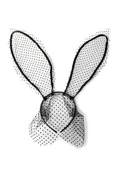 Polka Dot Lace Bunny Ears Headband with Veil - Black