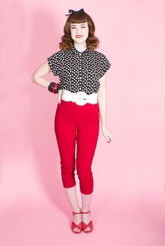 Red Capris by Hell Bunny