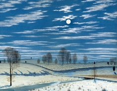 """Henry Farrer (American, born England, 1844–1903) """"Winter Scene in Moonlight"""" 1869 (Watercolor and gouache on paper)"""