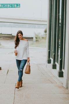 Off the Shoulder Fall Pullover | A Southern Drawl. White off the shoulder pullover+ripped skinny jeans+camel ankle boots+camel handbag. Fall Outfit 2016