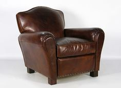 Barclay Club Chair - Vintage brown leather with nailhead trim.