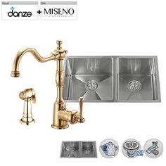 "Build Smart Kits MSS163219SR6040/DD401557 Miseno 32"" Double-Bowl   Stainl Polished Brass Faucet Fixture Kitchen Sink Combination"