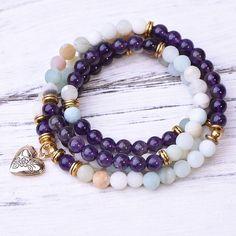 Amazonite Amethyst Locket 108 Mala - Paybackgift Amethyst, Beaded Bracelets, Stone, Calm, Peace, Times, Jewelry, Products, Rock