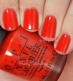 OPI Race Red | Mustang Collection | Peachy Polish. Orange red