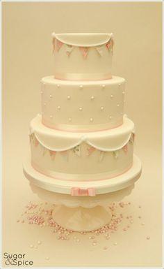 Sweet Bunting - Cake by Sugargourmande Lou Cupcakes, Cupcake Cakes, Pretty Cakes, Beautiful Cakes, Cake Icing Techniques, Dedication Cake, Macarons, Christening Cake Girls, Birthday Cake Girls