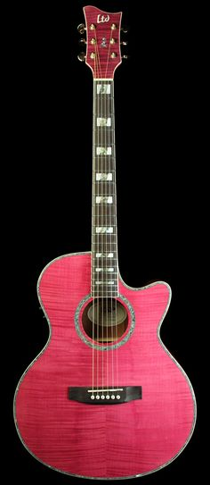 ESP LTD AC-20E Acoustic Electric Guitar See Thru Magenta | The Music Zoo