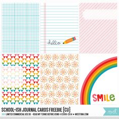 Free printable journal cards - I love using cards like these for little lunch box notes!