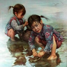 Artist: Kee Fung Ng (Chinese) Children Playing, Children of Aberdeen