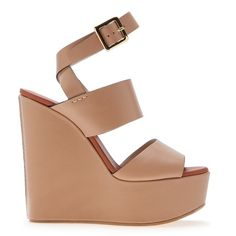Chloé Wedge Sandal (€375) ❤ liked on Polyvore featuring shoes, sandals, heels, wedges, platform wedge sandals, wedges shoes, leather platform sandals, nude heel sandals and ankle strap platform sandals