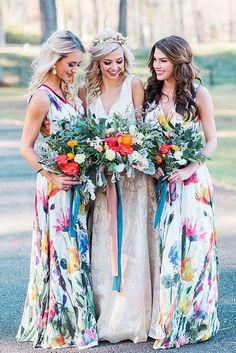 Most Beautiful Floral Bridesmaid Dresses ★ See more: https://weddingdressesguide.com/floral-bridesmaid-dresses/ #bridalgown #weddingdress