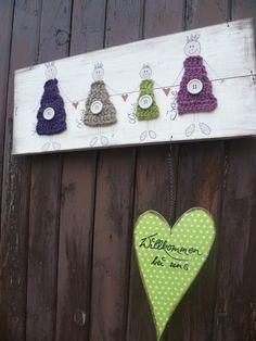 wunderschönes Türschild mit bunten gehäkelten Engeln und einem herunterhängenden Herz   ideales Geschenk für Freunde, Bekannte oder für sich selbst,  die Aufschrift lässt sich abändern