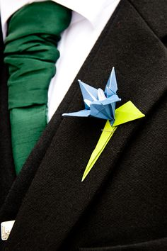 Origami boutonniere - made by the bride!