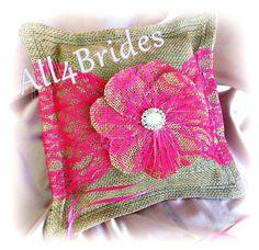 Wedding burlap and hot pink lace ring bearer pillow