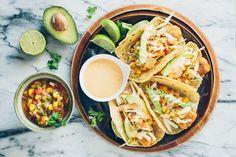 paleo baja fish tacos with tropical salsa via barerootgirl.com
