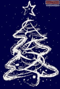 Abstract white christmas tree cross stitch kit
