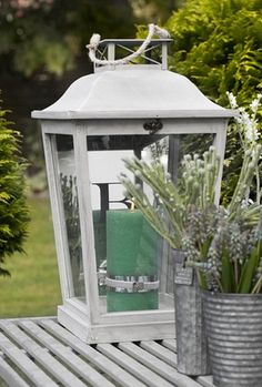 Interior design and decor in Scandinavian design Large Lanterns, Vintage Lanterns, Wooden Lanterns, Lanterns Decor, Candle Lanterns, Summer Garden, Home And Garden, Candles And Candleholders, Outdoor Lighting