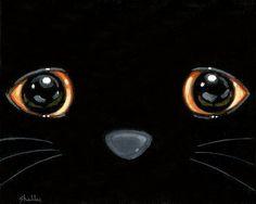 ORIGINAL PAINTING  Black Cat Eyes  Folk Art by by ShellyMundelArt, $55.00
