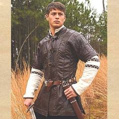 This stunning brown leather, short sleeved doublet can be worn many different ways or with our Padded Shirt for the ultimate in dashing attire. Made of high-grade leather with a buckle-up front. Key F