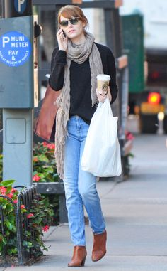 Emma Stone is dressed for fall in this casual street style.