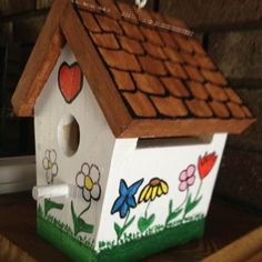 Painted birdhouse with protective Mod Podge & sealer so I can hang it outside.