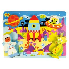 Little explorers will love this chunky and funky lift-out puzzle featuring a brightly coloured space theme, which includes a friendly alien, a cool spaceship and an astronaut. The pieces are perfectly sized for little hands, and the pegs make them easy to remove and replace. Perfect for developing dexterity and coordination and also ideal for using as stand alone play pieces