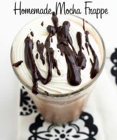 Mocha Frappe Recipe Homemade Mocha Frappe, Mocha Frappe Recipe, Frappuccino Recipe, Blended Coffee Drinks, Yummy Drinks, Yummy Food, Coffee Recipes, Drink Recipes, Paleo Recipes