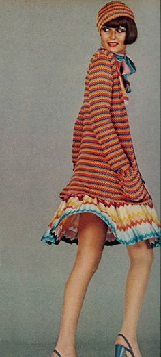 Horizontal stripes and chevron print CAN play well together! Vogue, circa 1973. https://www.etsy.com/shop/metamorphicstyle