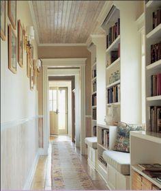 hallway bookshelves and window seats