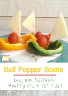 Want your kids to eat healthy but don't have time to make elaborate snacks? Get inspiration for easy healthy snack ideas with these bell pepper boats!