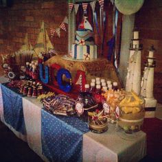 Nautical Themed Candy buffet by Voila Functions www.facebook.com/voilafunctions