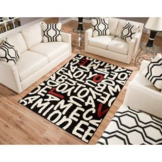 Cute Rug at Walmart! Goes perfect w/ my Red furniture! Terra Love Rectangle Area Rug Black