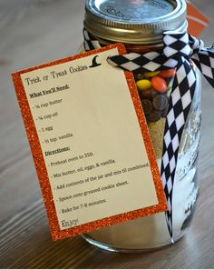 Trick or Treat Cookie Jars with recipe card