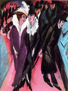 Ernst Ludwig Kirchner, Street Scene, Pastel, x Brücke Museum Berlin Ernst Ludwig Kirchner, Wassily Kandinsky, Berlin Street, Street Art, Berlin Berlin, Brücke Museum Berlin, Art Dégénéré, Degenerate Art, Expressionist Artists