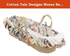 Cotton Tale Designs Moses Basket, Penny Lane. This moses basket could coordinate perfectly with our penny lane baby bedding set, or make a lovely baby shower gift regardless of bedding choices. Lightweight and adorable, this baby basket is a wonderful gift for the expectant mother. Basket may be used to keep your baby near you throughout your day. They create a warm, comfortable place for your baby anywhere in the house. After your baby has outgrown the basket, it can be a gorgeous...