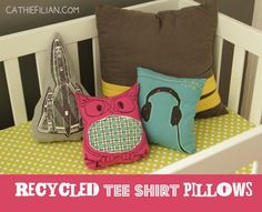 These would go awesome with a t-shirt quilt Shannon! DIY Recycled T-shirt Pillows
