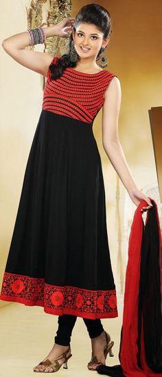 $95.24 Black Faux Georgette Thread Work Long Anarkali Suit 25309
