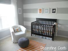 I wanted his nursery to be fun and young but not so baby where I would have to change a lot as he becomes a toddler.  I kept the walls neutral with gray and added fun colors that can grow as he does.