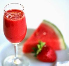 Agua fresca made with fresh strawberries and watermelon.  Classic Mexican fresh fruit drink.
