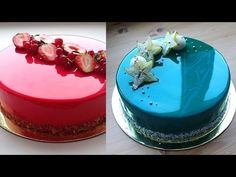 Amazing Cakes Decorating MIRROR CAKE (Mirror Glaze Cake) - Most Satisfying Cake Decorating Video Its a mirror glaze, definately not marbled fondant, fondant . Cake Decorating Designs, Cake Decorating Videos, Cake Decorating Techniques, Food Cakes, Tea Cakes, Mirror Glaze Recipe, Mirror Glaze Cake, Cookies Cupcakes And Cardio, Cupcake Cookies