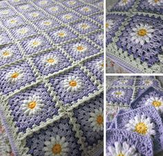 RESERVED Custom Order - Daisy Flower Granny Square Afghan Blanket Throw. $45.00, via Etsy.