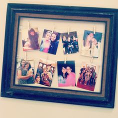 Hanging pictures...    Garage sale empty frame,  lace ribbon attached to the back,  and pictures hung with tiny baby clothespins
