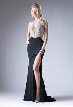 Black Beaded Illusion Dress with Slit by Cinderella Divine 84124