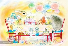 Blowing out the Birthday Candles - with rabbit, squirrel etc