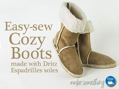 Dritz Espadrilles Tutorial couture: New Sherpa Suede Bottes Sewing Patterns Sewing Patterns Free, Clothing Patterns, Free Sewing, Espadrilles, Make Your Own Clothes, Shoe Pattern, Suede Fabric, Sewing Accessories, Couture