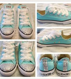 Blue rhinestone converse wedding shoes ❤️